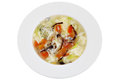 Chinese tomato egg whites and mushrooms soup isolated on whit traditional drop with vegetables in a white bowl white background Stock Images