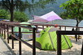 Chinese tourism camping in the beach