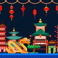 Chinese town seamless horizontal background. Travel to China vector flat illustration. Night Asian cityscape
