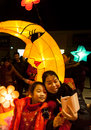 Chinese traditional lantern festival a mother and a daughter take pictures in front of the lanterns and celebrate liuzhou guangxi Stock Images