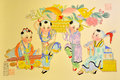 Chinese traditional painting, kids playing Royalty Free Stock Image