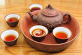 Chinese traditional teapot with cups of tea clay tray Royalty Free Stock Image