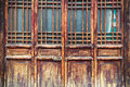 Chinese traditional wooden door has a beautiful lattice window Stock Images