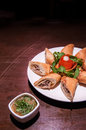Chinese tuna spring rolls, a great side order at asian restauran Royalty Free Stock Photo