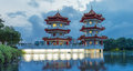 Chinese Twin Pagoda lake landscape night Lunar New Year River Royalty Free Stock Photo