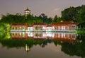 Chinese Twin Pagoda lake landscape night Lunar New Year River Royalty Free Stock Photo
