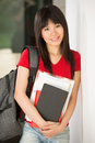 Chinese University student standing in corridor. Stock Images
