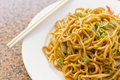 Chinese vegetable lo mein delicious food stir fry Stock Photos