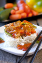 Chinese vegetables in sweet and sour sauce chicken with fresh on background Stock Photography