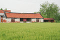 A Chinese village house and farm land Royalty Free Stock Photo