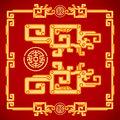 Chinese Vintage Dragon Elements on classic red background