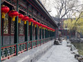 Chinese walkway with red lanterns Royalty Free Stock Photo