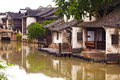 The Chinese watery town buildings Stock Photos
