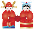 Chinese Wedding Couple Illustration Stock Images