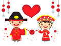 Chinese wedding couple in traditional costume cartoon new year Stock Photos