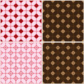 Chinese window four red brown seamless pattern set Royalty Free Stock Photo