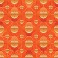 Chinese window long life symbol orange gold seamless pattern Royalty Free Stock Photo