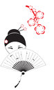 Chinese woman with a fan the beautiful and flowers of an oriental cherry Stock Image