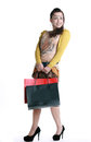 Chinese woman happy shopping holding a bags expression happiness Royalty Free Stock Photography