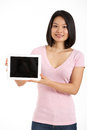 Chinese Woman Holding Digital Tablet Stock Photos