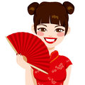 Chinese woman holding fan beautiful brunette red smiling happy Royalty Free Stock Photo