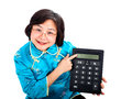 Chinese Woman smiling, showing  a calculator Stock Images