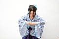 Chinese woman in traditional Blue and white porcelain style Hanfu dress Royalty Free Stock Photo