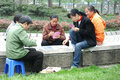 Chinese women playing cards Stock Photos