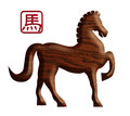 Chinese wood zodiac horse illustration lunar new year of the element forward pose silhouette with text symbol isolated on white Royalty Free Stock Photography