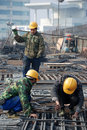 Chinese workers construct viaduct Royalty Free Stock Photo