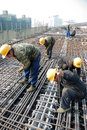 Chinese workers construct viaduct in chengdu china Royalty Free Stock Photo