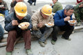 Chinese workers have lunch on the construction site located in chengdu china Stock Photos