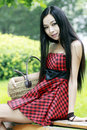 Chinese young girl outdoor Stock Images