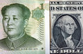 Chinese yuan on american dollar one bill mao zedong one money george washington concept photo of economy currency strategy growth Stock Image
