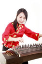 Chinese zither performer Royalty Free Stock Image