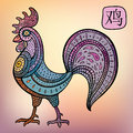 Chinese zodiac animal astrological sign cock vector illustration Stock Photography
