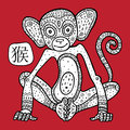 Chinese zodiac animal astrological sign monkey vector illustration Stock Photography