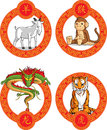 Chinese zodiac animal dragon goat monkey tig a vector set of animals tiger inside a style circlular ornament drawn in cartoon Royalty Free Stock Photography