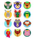 Chinese zodiac animal icons Royalty Free Stock Photo