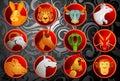 Chinese zodiac animal signs set Royalty Free Stock Photo