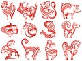 Chinese zodiac animals in paper cut style Royalty Free Stock Photo