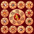 Chinese zodiac emblems with cartoon animals Royalty Free Stock Photo