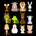 12 Chinese zodiac icon set