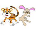 Chinese Zodiac Set 2 : Tiger And Rabbit Royalty Free Stock Photography