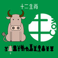Chinese zodiac sign cow with Chinese character `cow`.