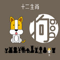Chinese zodiac sign dog with Chinese character `dog`