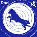 Chinese Zodiac Sign Dog over whirl blue pattern Royalty Free Stock Photo
