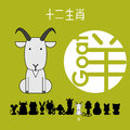 Chinese zodiac sign goat with Chinese character `goat`