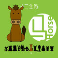 Chinese zodiac sign horse with Chinese character `horse`.