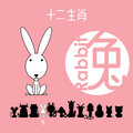 Chinese zodiac sign rabbit, , Chinese character `rabbit`